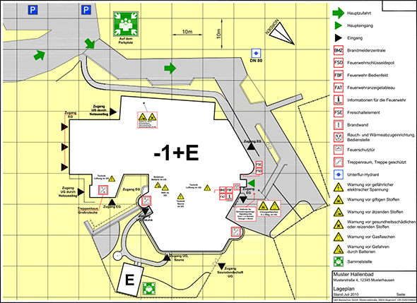 Beispiel für Feuerwehreinsatzplan/Lageplan