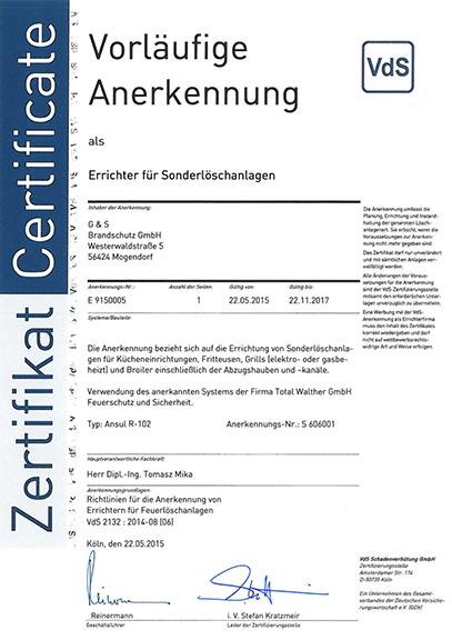 VdS Zertifikat Errichter Küchenloeschanlagen