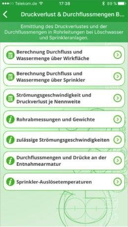 G&S Sprinkleranlagen-App: Optionen